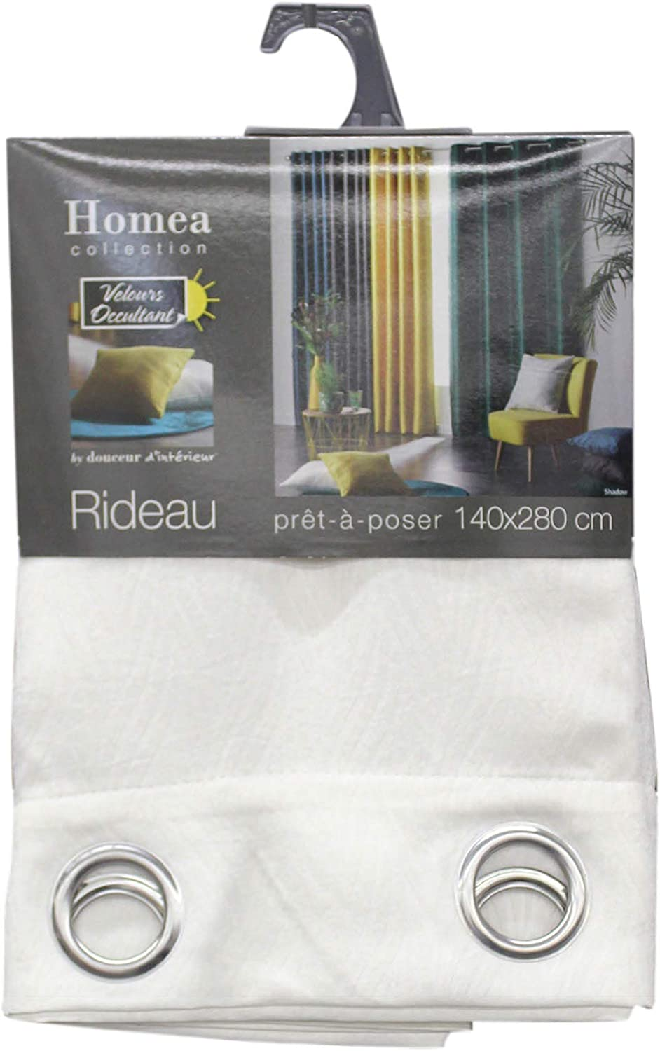 homea rideau a oeillets 140x240 cm occultant velours shadow anthracite