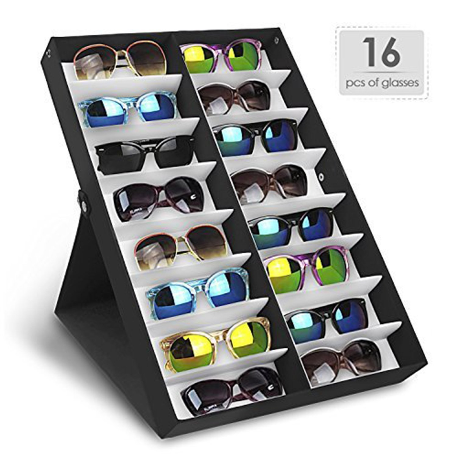 Amzdeal Sunglasses Display Case Eyeglasses Eyewear Storage Display Box with Folding Lid for Glasses and Jewellery Organizer (16 compartments) No