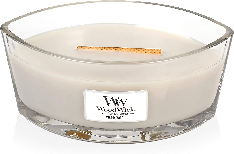 Ellipse Bianco paraffina Lana Calda Warm Wool Woodwick Candela Profumata con Stoppino Scoppiettante Fino A 50 Ore