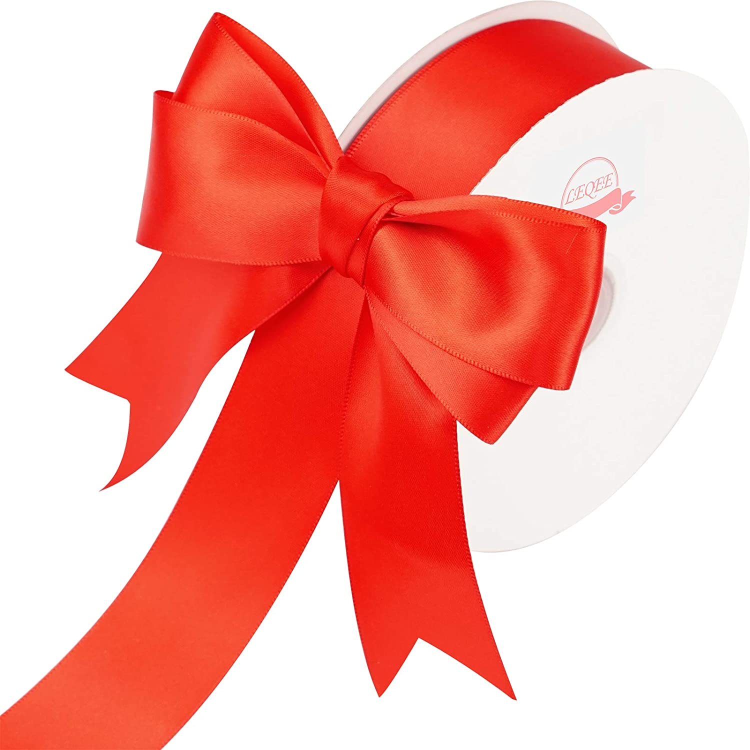 LEEQE Red Double Face Satin Ribbon 1-1/2