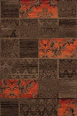 Lalee 347222001 Tapis Marron/orange/motif patchwork 120 x ...