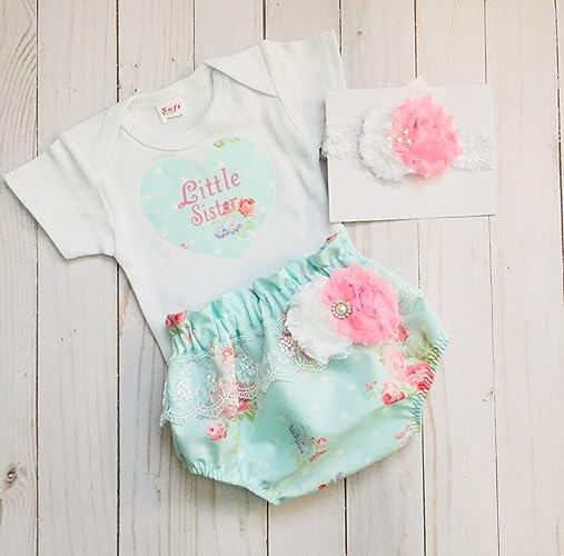 023e3fff03b45 Amazon.com: Little Sister onesie diaper cover set with headband in shabby  chic baby design: Handmade