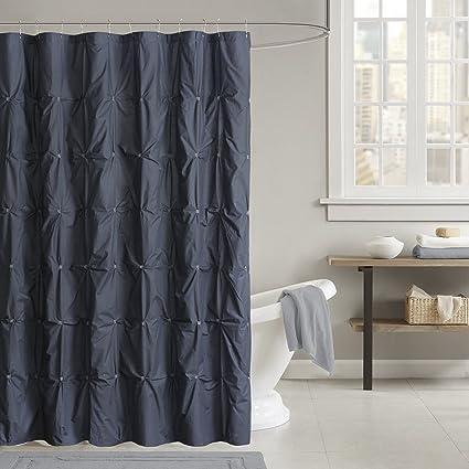 INK IVY Masie Cotton Shower Curtain Navy 72x72