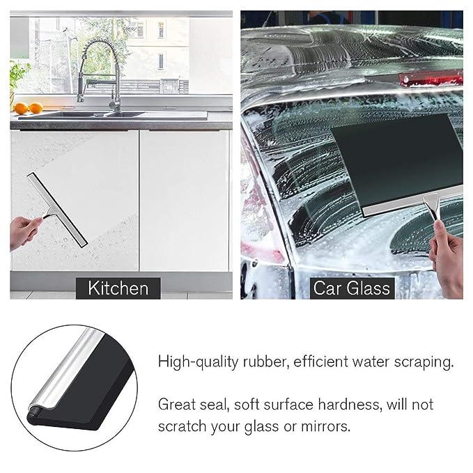 werded Rasquetas/Escobilla de acero inoxidable rasqueta limpiacristales de ducha para baño espejo limpiaparabrisas ventana de cristal de limpieza, ...