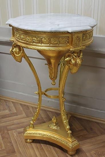 LouisXV Beistelltisch Tisch, Aus Holz, Blattschlagvergolder, Weißer Marmor  Antik Stil Massivholz. Replizierte
