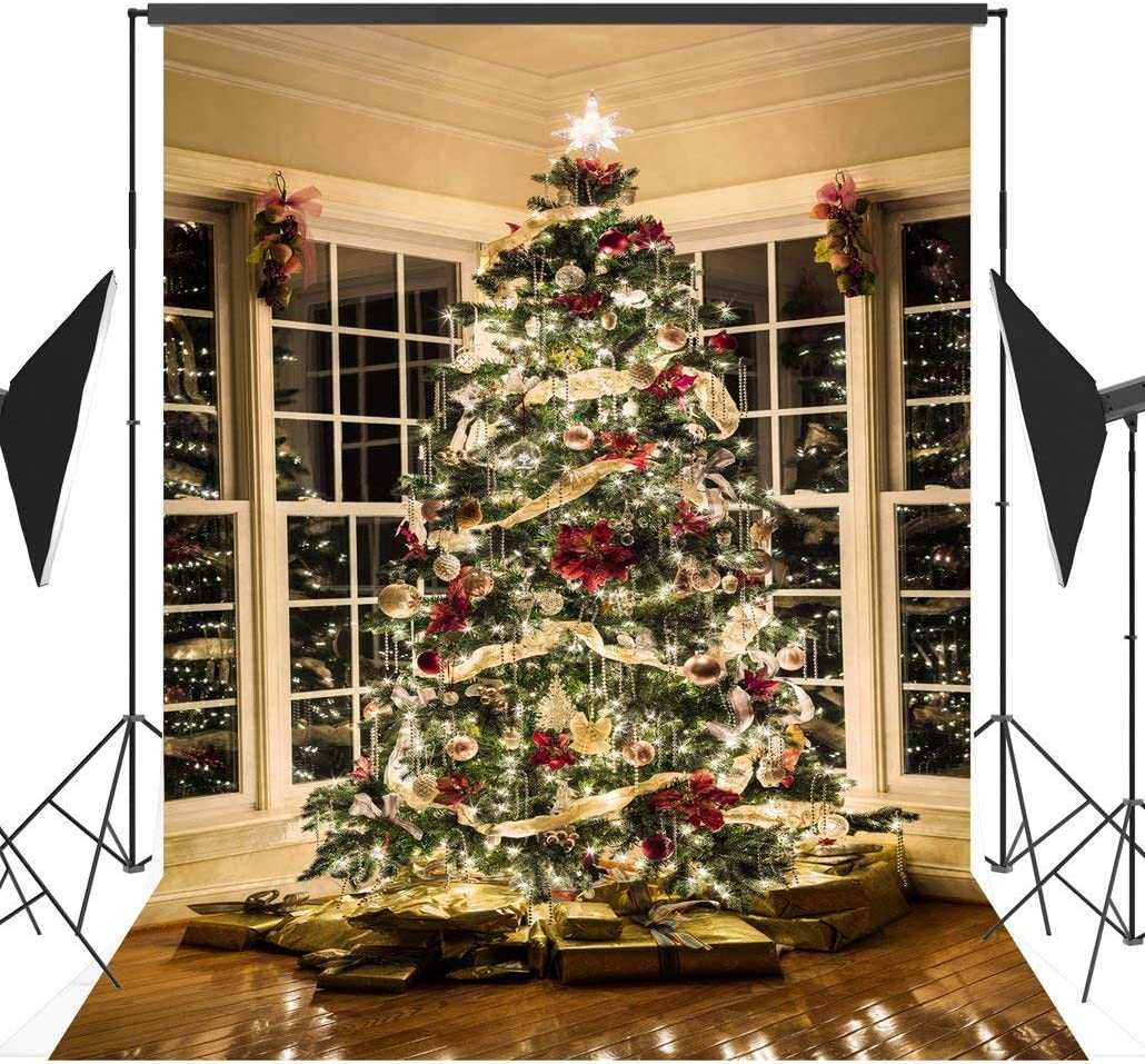 GoEoo 10X10FT Seamless Christmas Tree Decorating Vinyl Photography Backdrop Photo Background Studio Prop CEM01D