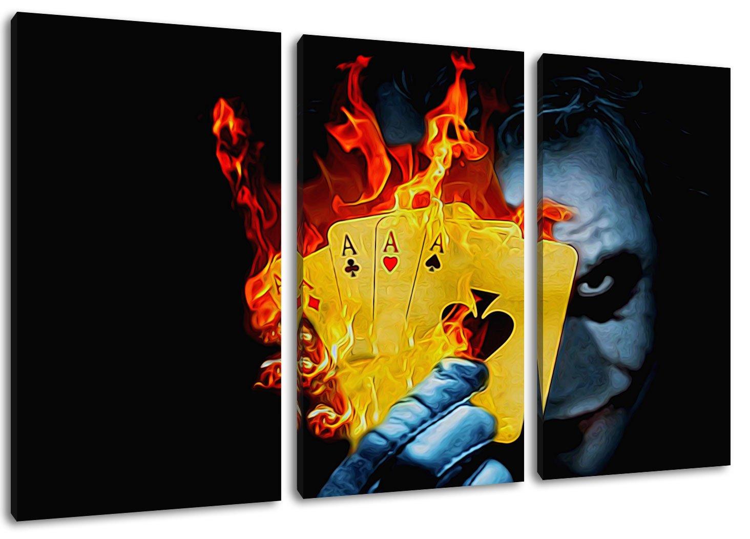 Joker 3-Piece Canvas Wall Art, overall size: 120 x 80 CM)-High ...