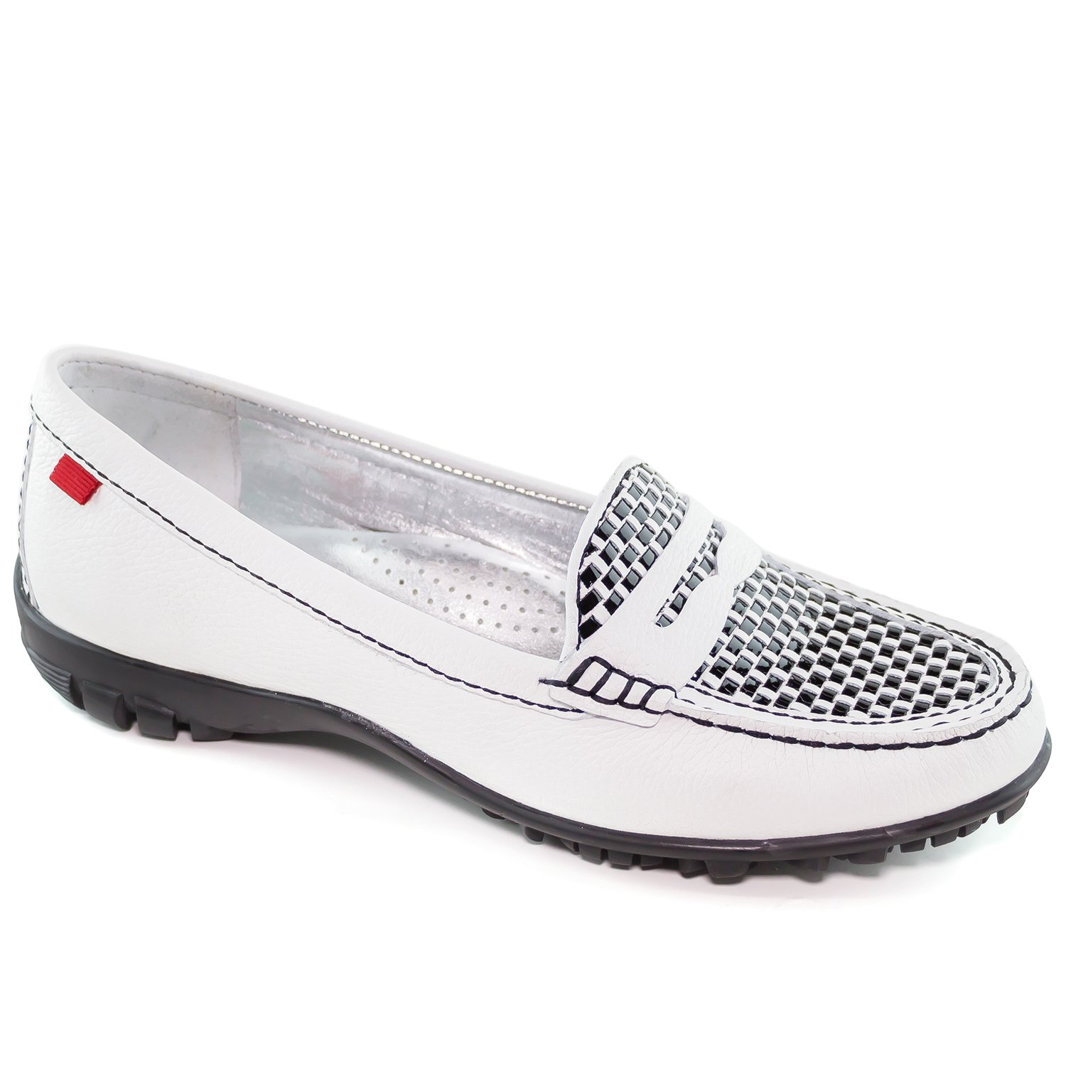 Women's Golf Light Weight Genuine Leather Made In Brazil Union White Grainy Penny With Weave Vamp Golf Performance Marc Joseph NY Fashion Shoes 6