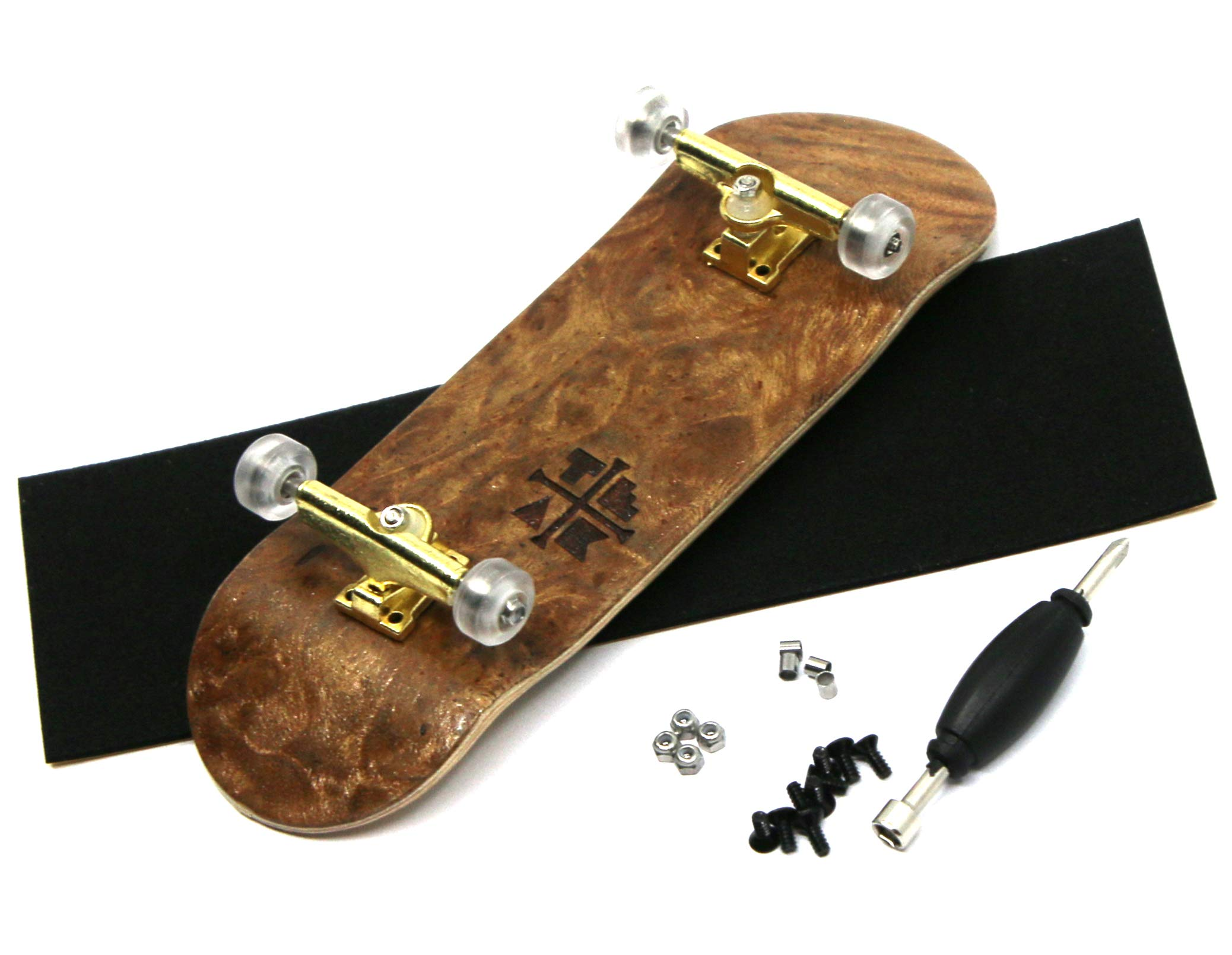 PROlific Complete Fingerboard with Upgraded Components - Pro Board Shape and Size, Bearing Wheels, Trucks, and Locknuts - 32mm x 97mm Handmade Wooden Board - Cloud Nine Engraved Edition by Teak Tuning