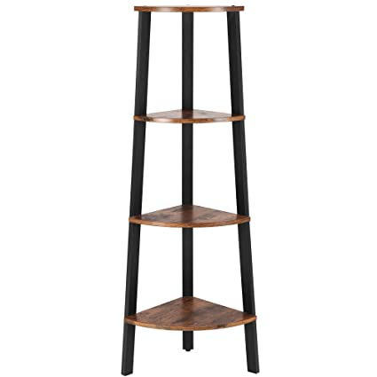 Superieur SONGMICS Vintage Corner Shelf, 4 Tier Bookcase, Storage Rack Plant Stand  For Home