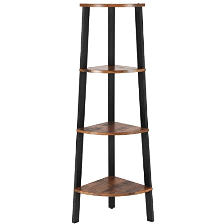 Vasagle Industrial Corner Shelf, 4 Tier Bookcase, Storage Rack Plant Stand For Home Office, Wood Look Accent Furniture With Metal Frame Ulls34 X, Rustic Brown by Vasagle