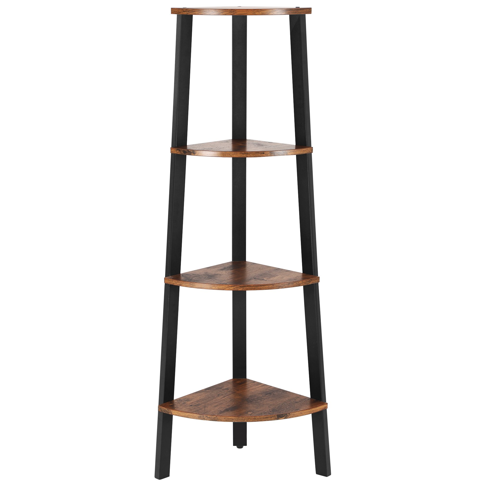 SONGMICS Vintage Corner Shelf, 4-Tier Bookcase, Storage Rack Plant Stand for Home Office, Wood Look Accent Furniture with Metal Frame ULLS34X