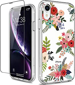 GiiKa iPhone XR Case with Screen Protector, Clear Heavy Duty Protective Case Floral Girls Women Shockproof Hard PC Back Case with Slim TPU Bumper Cover Phone Case for iPhone XR, Flowers