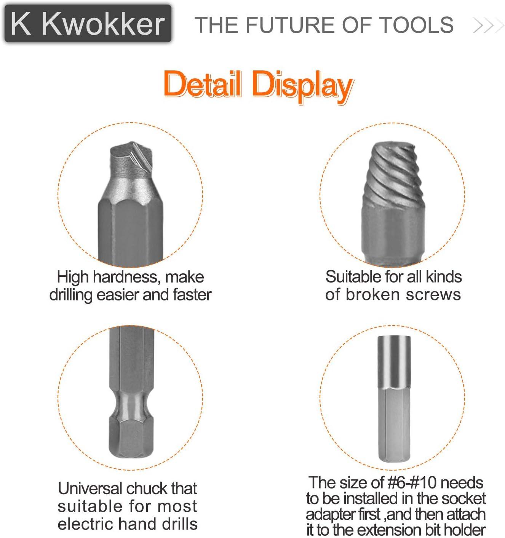 K Kwokker Lot de 22 extracteurs de vis endommag/ées avec porte-embout magn/étique et adaptateur de douille