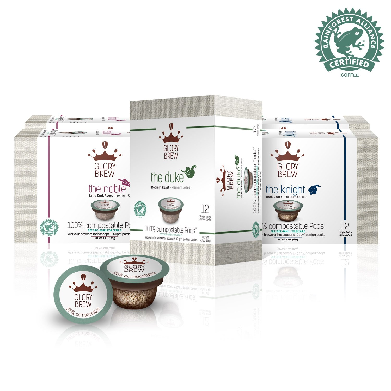 GLORYBREW – Variety Pack - 72 count 100% Compostable Coffee Pods for Keurig K-Cup Brewers - Rainforest Alliance certified – Medium, Dark and Extra Dark Roast | Better than Biodegradable Coffee Pods by GLORYBREW