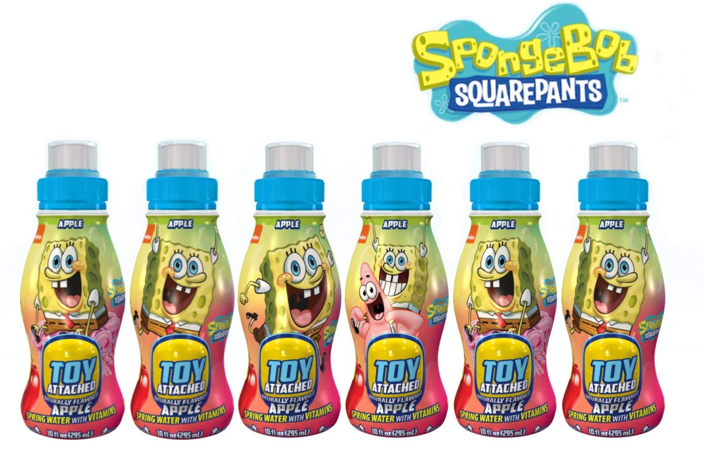 Surprise Drinks, Drink & Play Sponge Bob Square Pants Apple 6 Pack - Naturally Flavored Spring Water With Vitamins | 10oz, 6 Bottles And Collectible Surprise