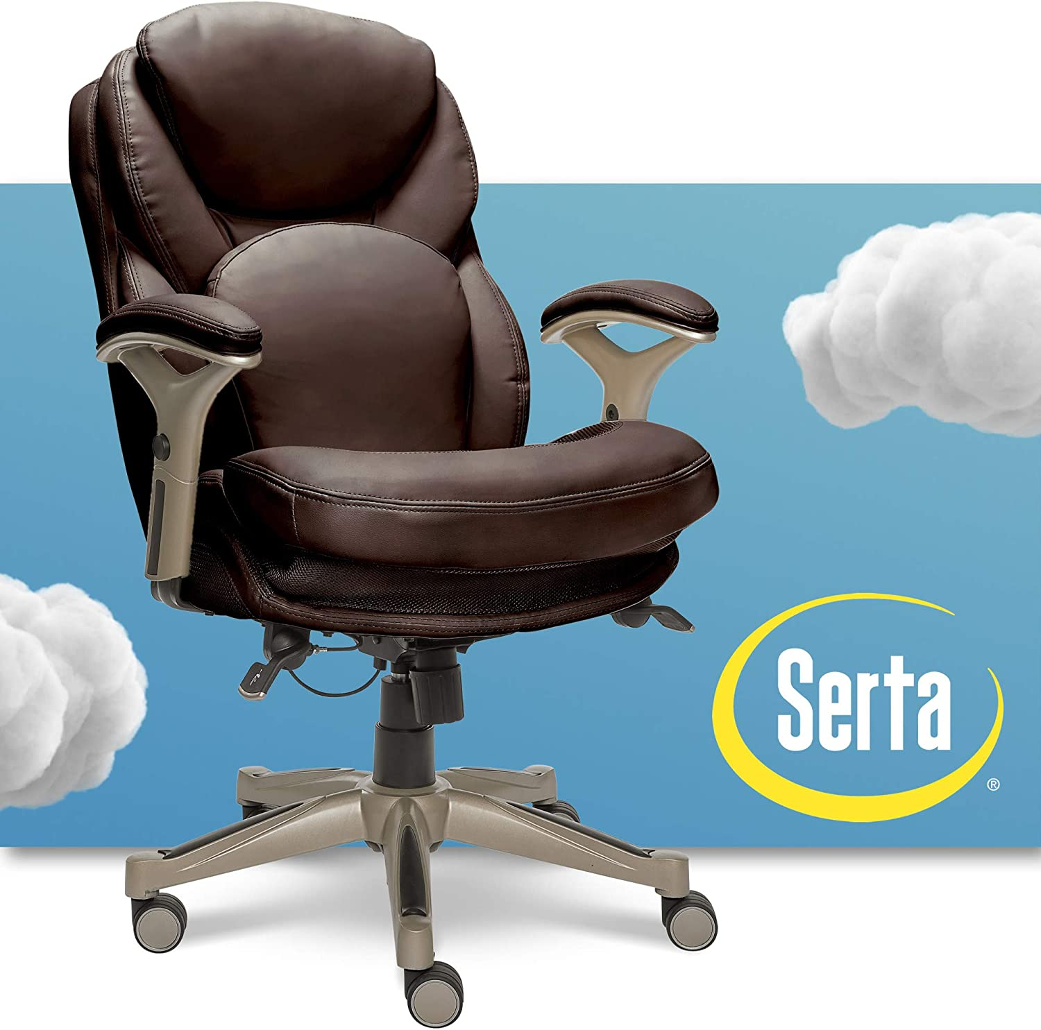 Serta Ergonomic Executive Office Chair Motion Technology Adjustable Mid  Back Design with Lumbar Support, Chestnut Bonded Leather