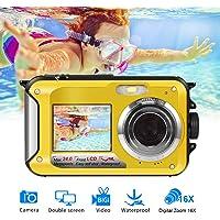 Fotocamera Subacquea Digitale FULL HD 1080P per Snorkeling Fotocamera Impermeabile da 24,0 MP Macchina Fotografica Subacquea con Doppio Schermo
