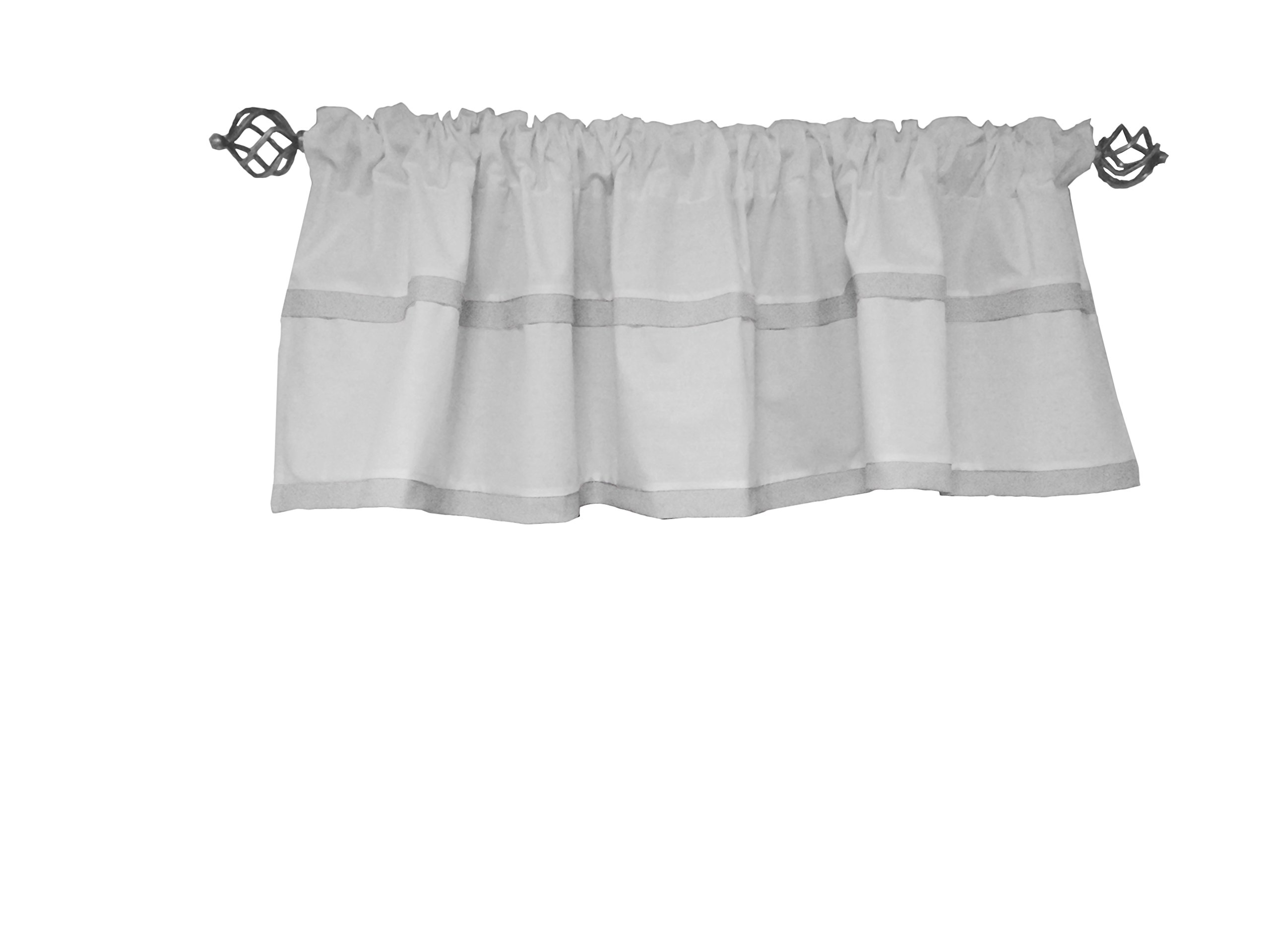 Baby Doll Medallion Window Valance, Grey by Baby Doll