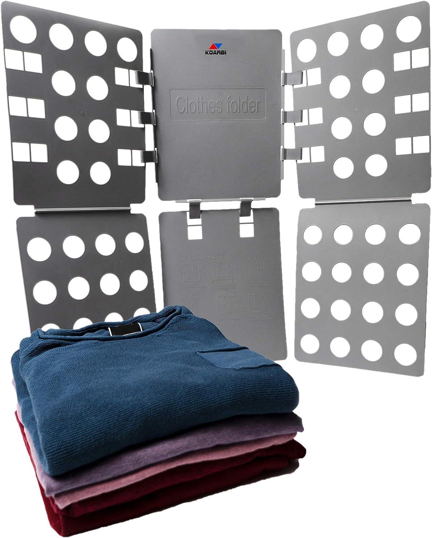 KOARBI Doblador de Ropa Adulto e Infantil. Doblador de Camisetas. Tabla para Doblar Ropa, Camisas, Pantalones. Resistente, Color Gris.