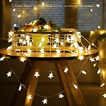 Star String Lights,Battery Operated LED Twinkle Lights 50pcs LED Indoor  Fairy Lights Warm White for Patio Wedding Bedroom Princess Castle Play  Tents ...