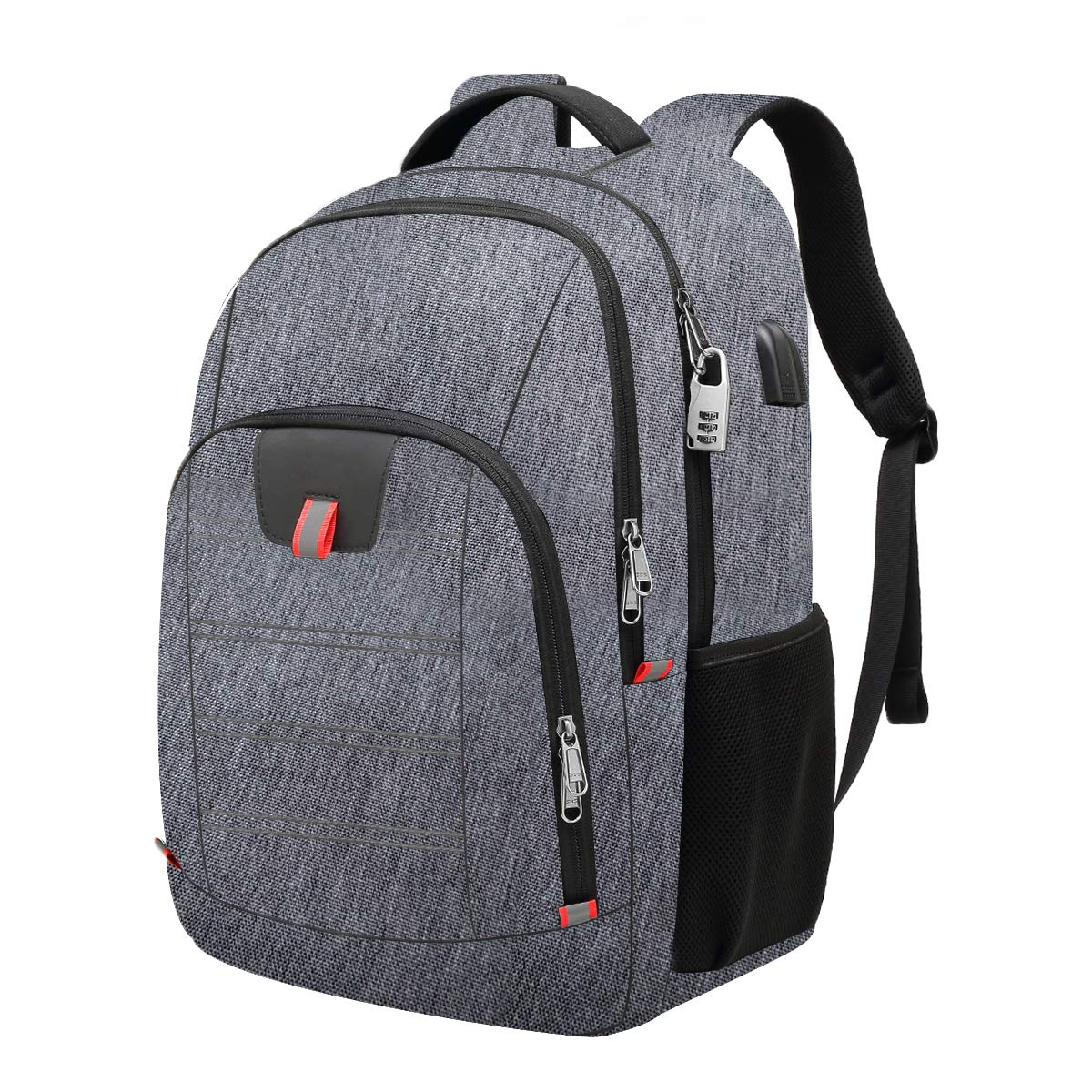 Travel Laptop Backpack,Extra Large Anti Theft College School Backpack for Men and Women with USB Charging Port,Water Resistant Big Business Computer Backpack Bag Fit 17 Inch Laptop and Notebook,Grey by Della Gao