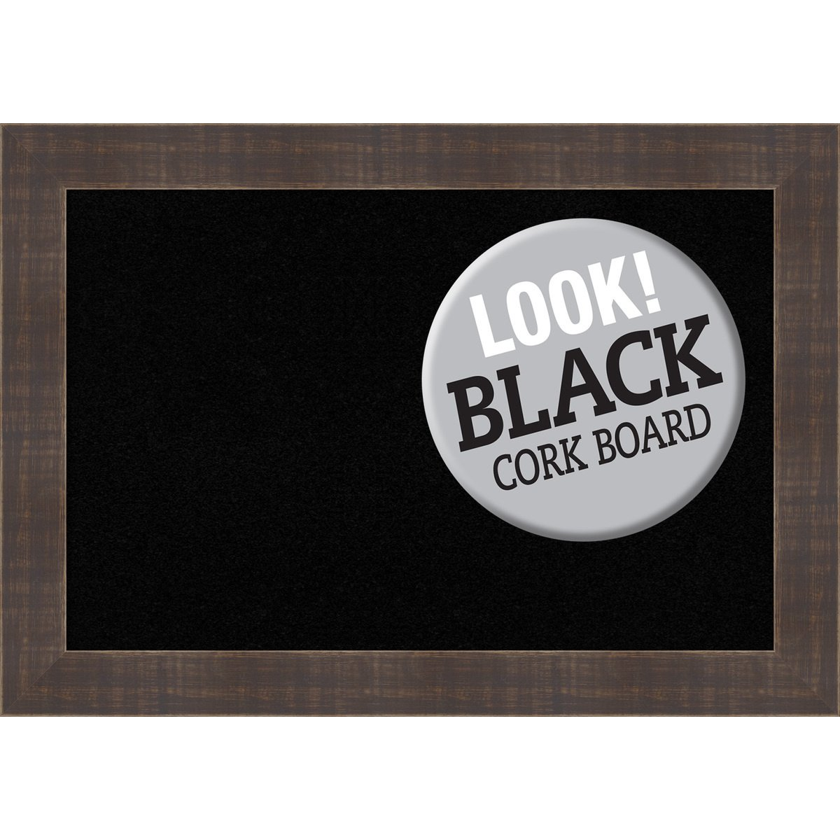 Amanti Art Framed Black Cork Board Whiskey Brown Rustic: Outer Size 21 x 15'', Small