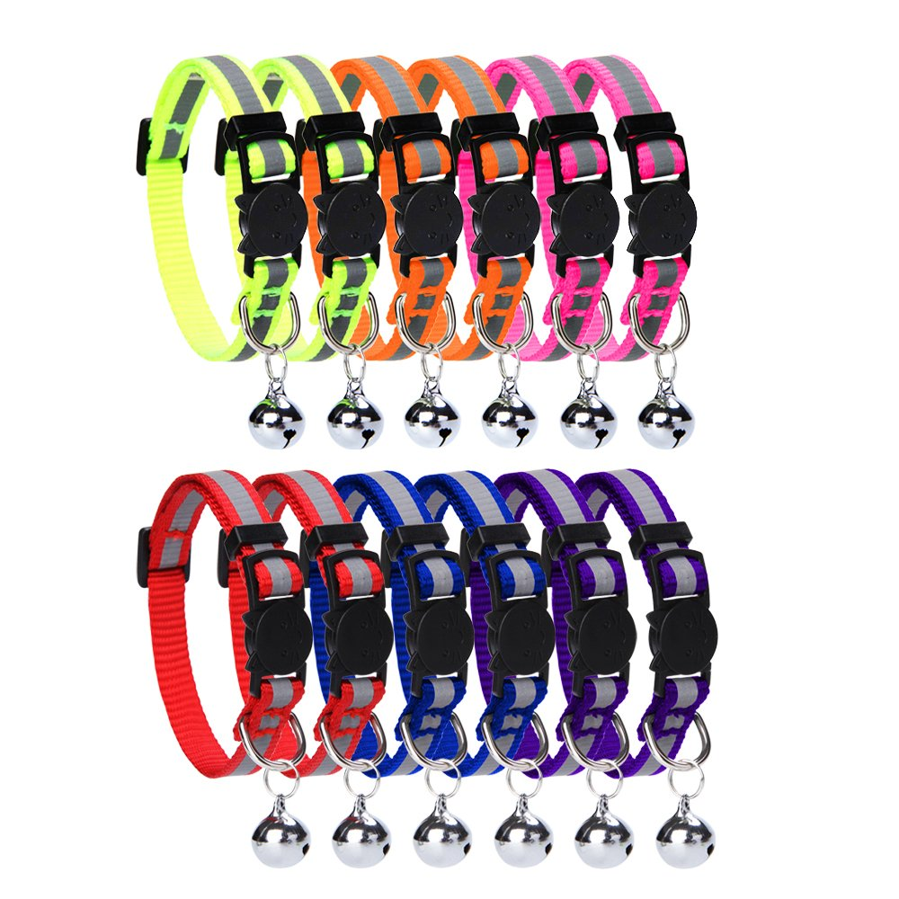 HOMIMP Cat Breakaway Collars Set 12 PCS with Bell Reflective Strap & Safety Buckle, Adjustable 8-12''