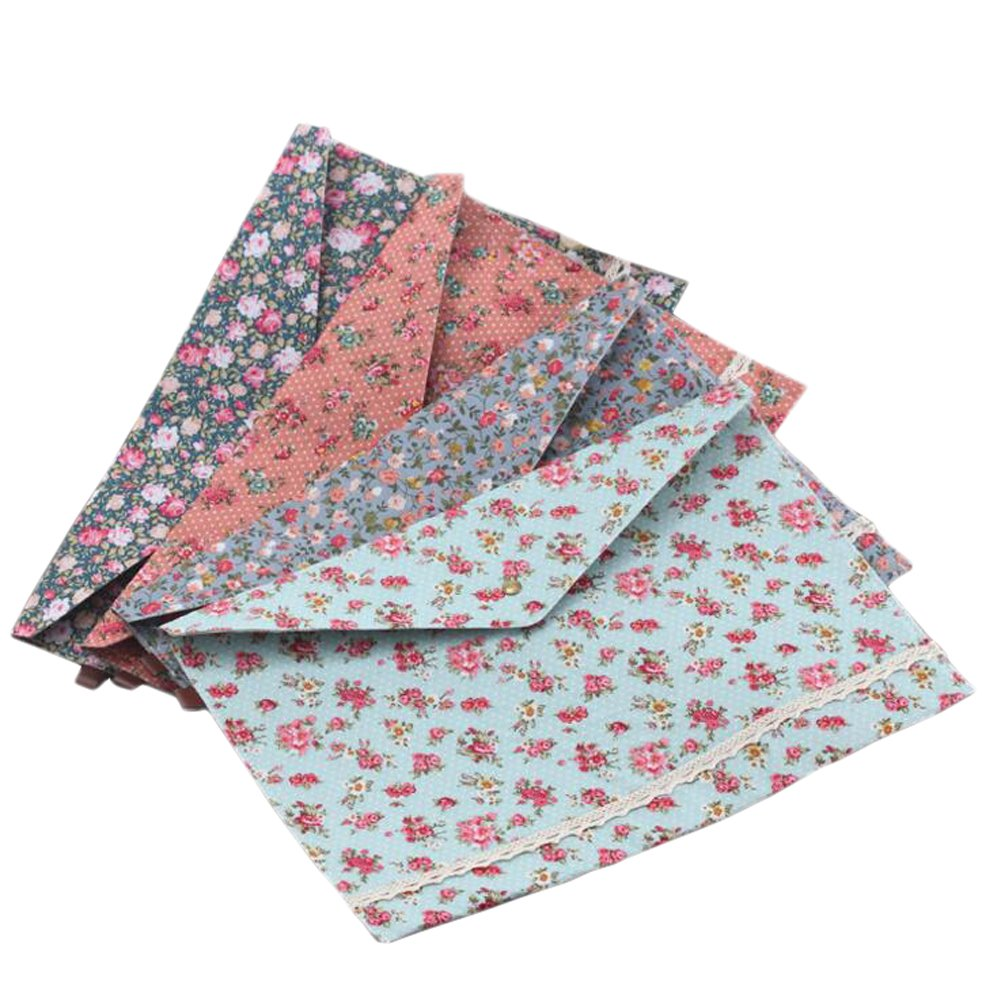 4 Pcs Floral Cloth A4 Size Paper File Folder Bags Document Holder Organizer Case With Snap Button For Office School Students