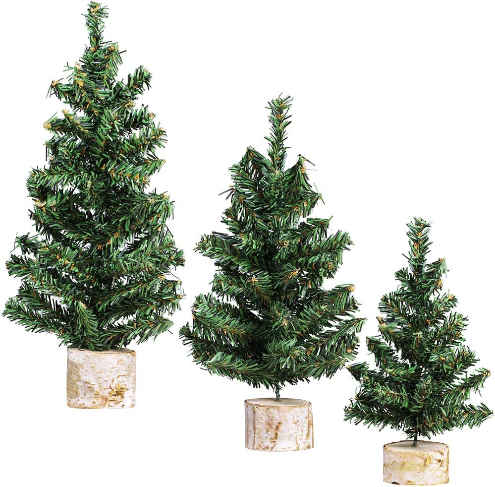 "Winlyn 3 Pack Mini Canadian Pine Trees with Wood Bases Artificial Miniature Christmas Trees for Holiday Season Tabletop Decoration Centerpiece Displays Xmas Green Assorted Sizes 7.5"" 8.9"" 10.8"""