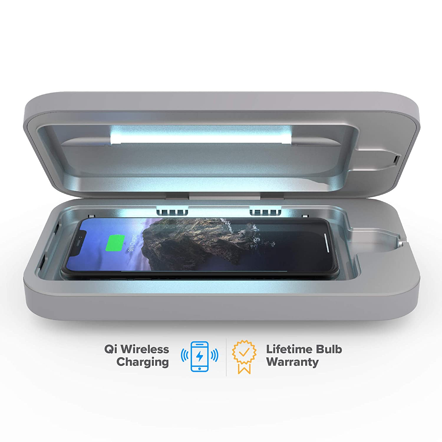 PhoneSoap Wireless UV Smartphone Sanitizer & Qi Charger | Patented & Clinically Proven UV Light Disinfector | Gunmetal Grey