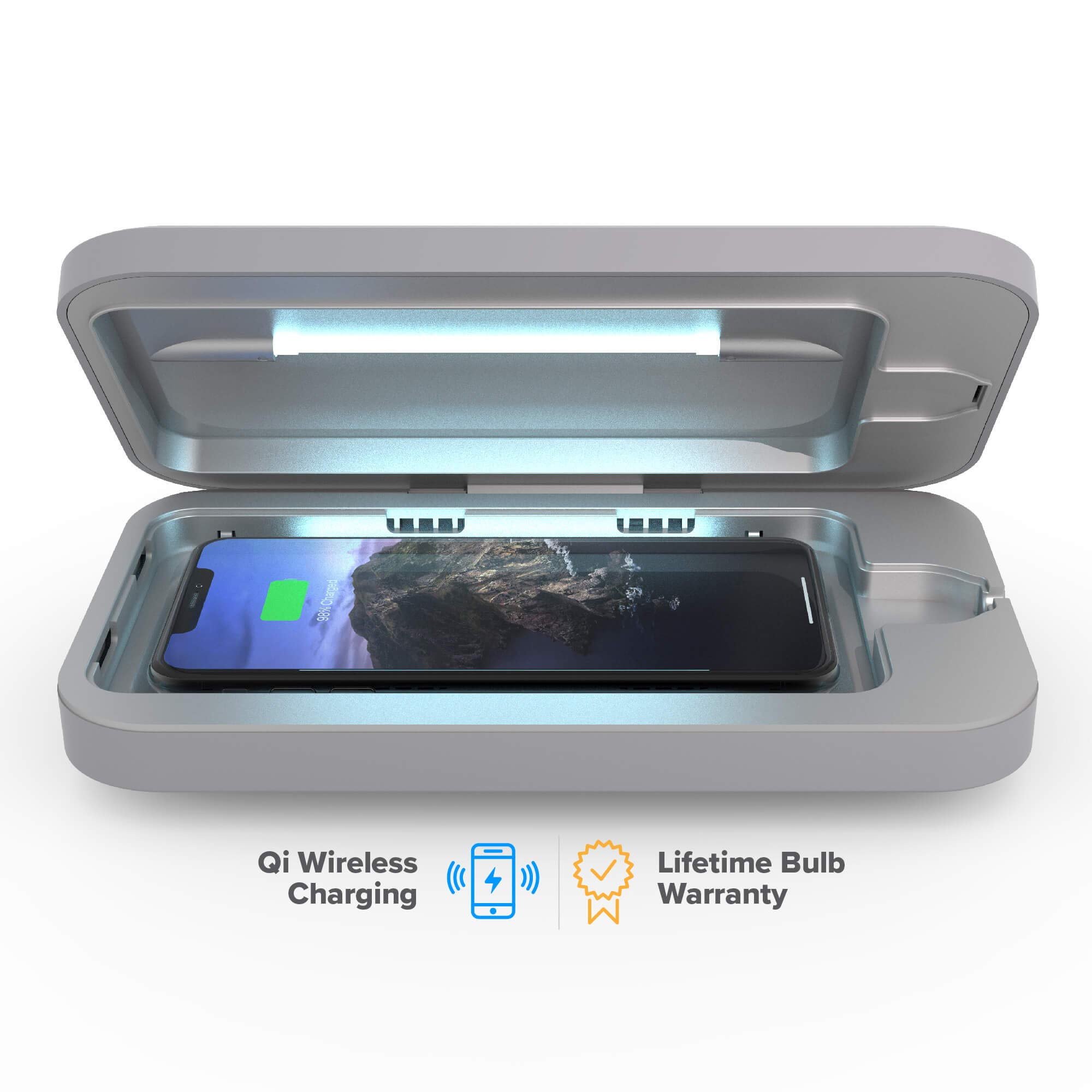 PhoneSoap Wireless UV Smartphone Sanitizer & Qi Charger   Patented & Clinically Proven UV Light Disinfector   (Gunmetal Gray) by PhoneSoap