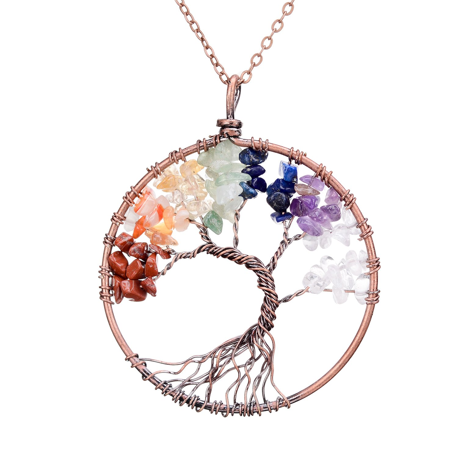 sedmart Four Seasons Tree of Life Pendant Wire Wrapped Wisdom Ancient Copper Necklace Gemstone Chakra Jewelry by sedmart