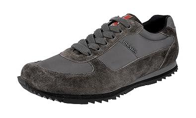 0e66ebd020eb3 Prada Men s 4E2721 OQT F0207 Grey Leather Sneaker EU 5 (39) ...