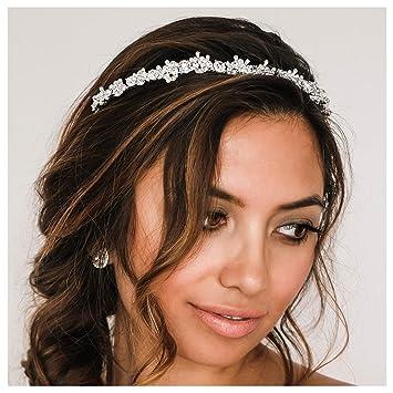 SWEETV Wedding Headpieces for Bride Crystal Hair Accessories for Women White Pearl Bridal Tiara Headband