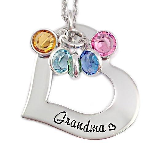amazon com grandma heart washer birthstone necklace personalized