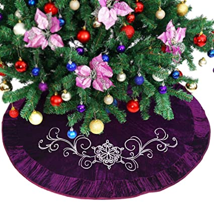 Powereva 50 Christmas Tree Skirt Purple Quilted Embroidery Decorative Holiday Three Layer Construction No 013