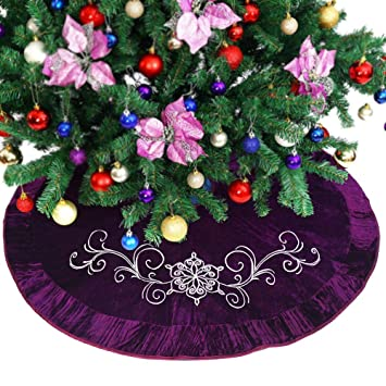 Purple Christmas Tree Skirt.Powereva 50 Christmas Tree Skirt Purple Quilted Embroidery Decorative Holiday Three Layer Construction No 013