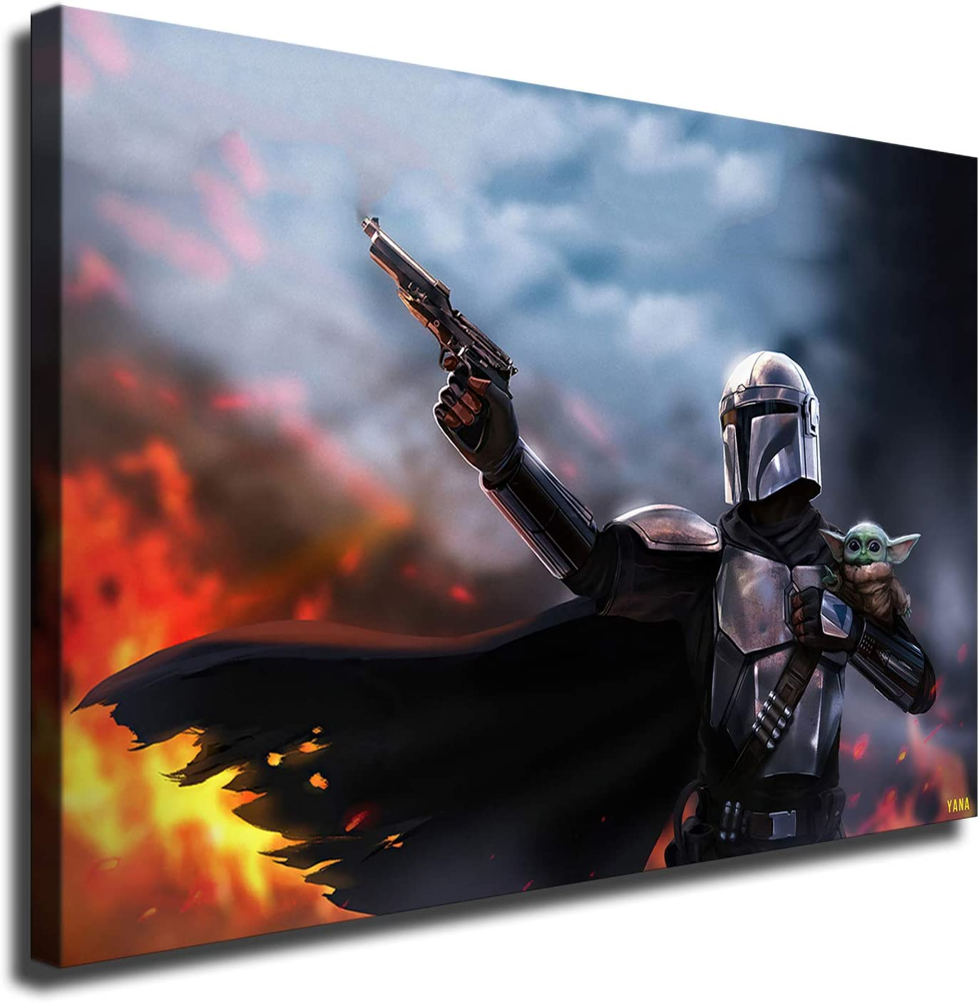 Amazon Com Star Wars Poster Baby Yoda And The Mandalorian Hd Canvas Wall Art Paintings 16x24inch No Framed Posters Prints