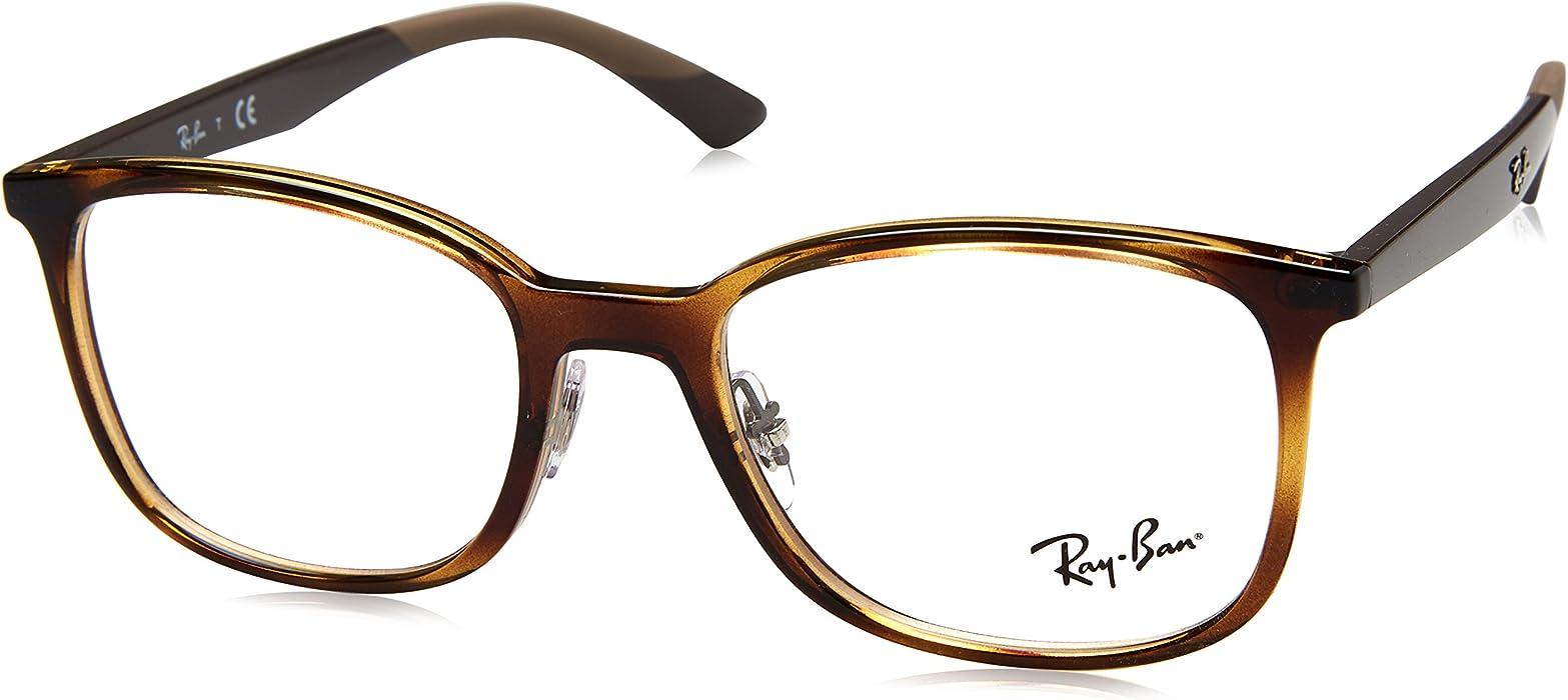 6e64de7289 Ray-Ban Men s 0rx7142 No Polarization Square Prescription Eyewear Frame  Havana 50 mm