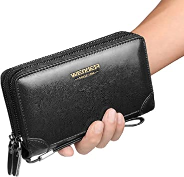KHGUDS Long Wallets Zipper Coin Purse For Men Clutch Business Male Wallet Zipper Vintage Large Wallet Card Holder Purse
