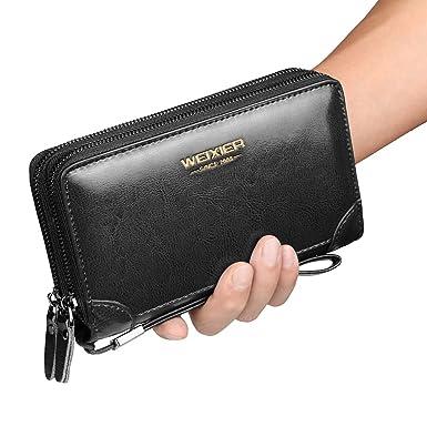d75962ded9ba Mens Clutch Bag Handbag Leather Zipper Long Wallet Business Hand Clutch  Phone Holder