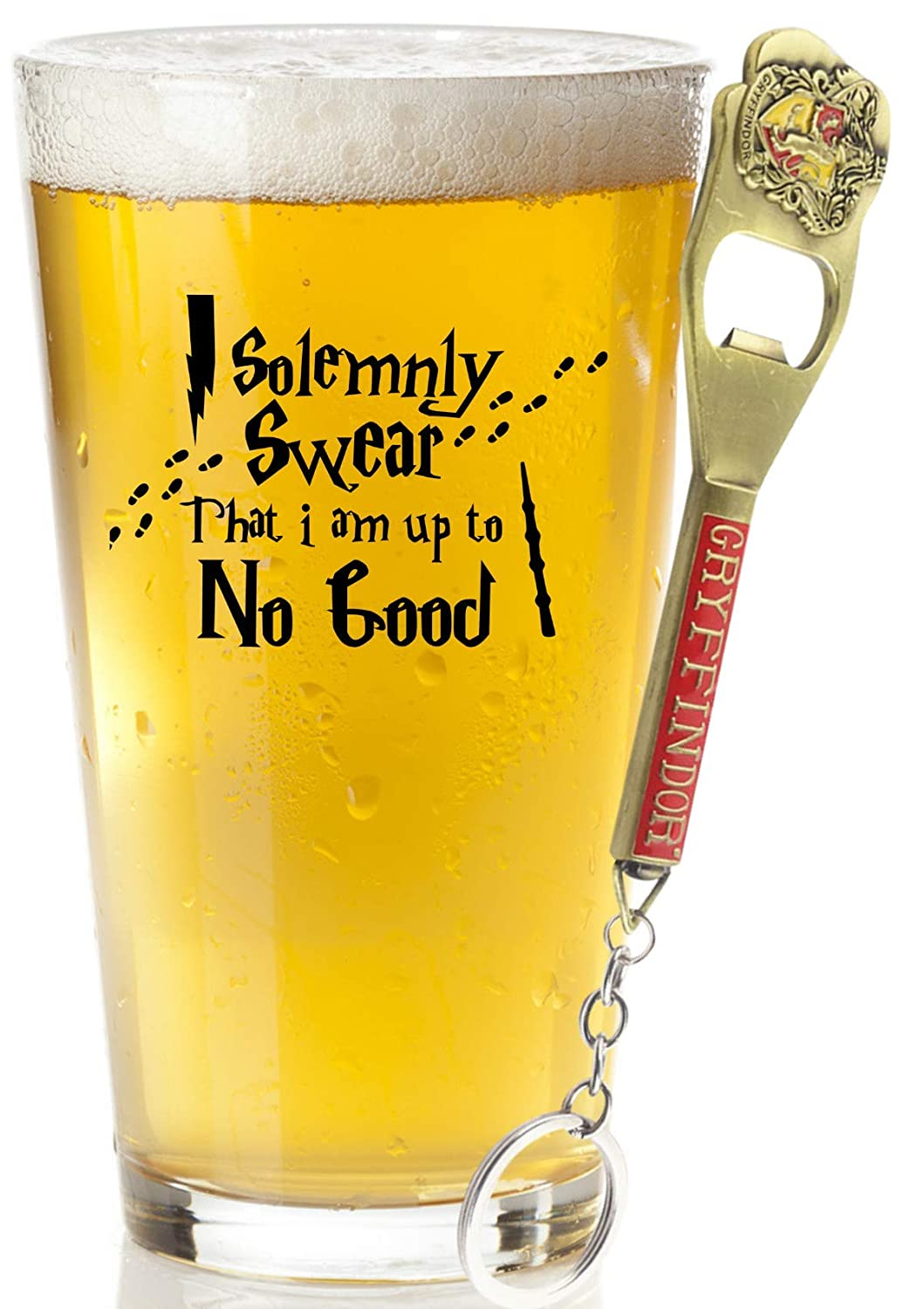 I Solemnly Swear That I Am Up To No Good Beer Glass With FREE Bottle Opener - Movie Merchandise - Harry Mischief Managed Magic Mug Collection - Potter Gifts And Stuff For Women and Men