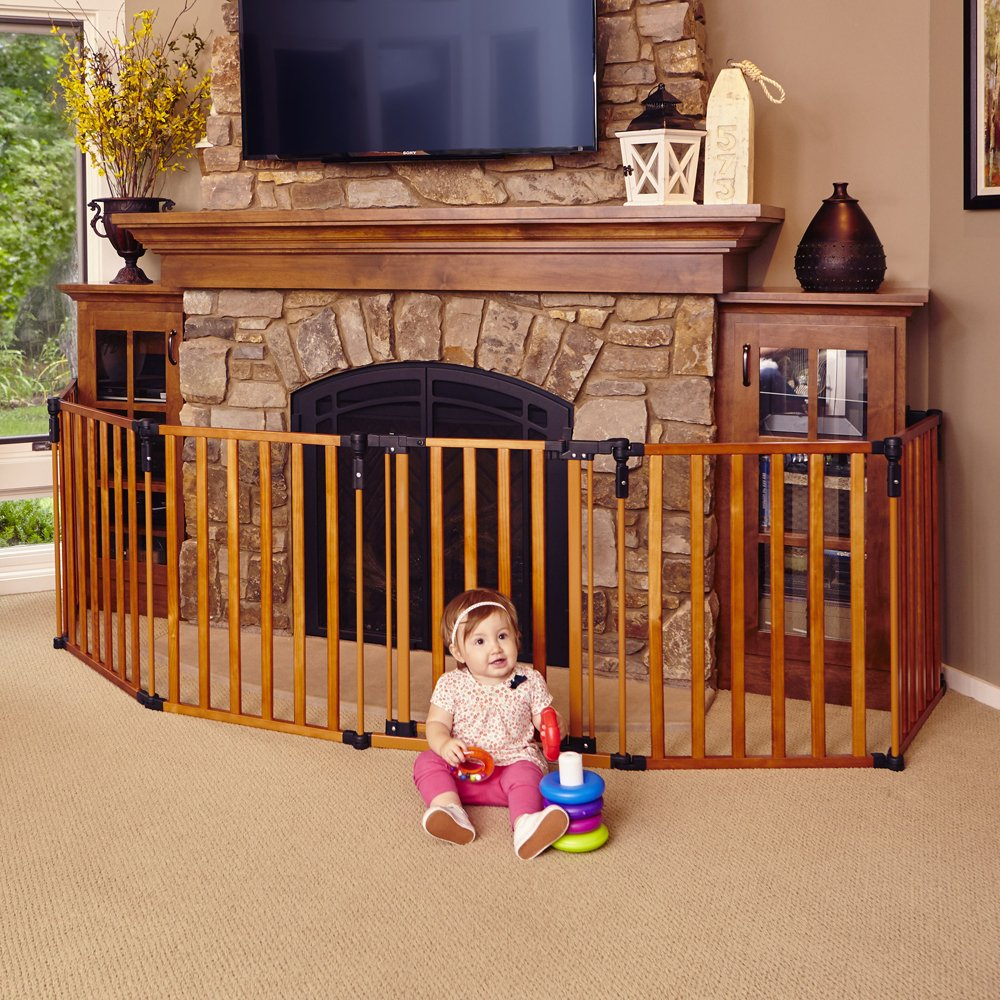 Baby Fireplace Gate Part - 23: Amazon.com : North States Superyard 3 In 1 Wood Gate : Indoor Safety Gates  : Baby