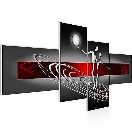 Bilder Abstrakt Figuren Wandbild 150 x 60 cm Vlies - Leinwand Bild XXL  Format Wandbilder Wohnzimmer Wohnung Deko Kunstdrucke Rot 4 Teilig - MADE  IN ...