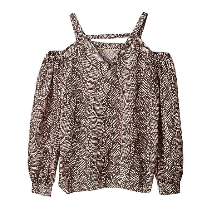 Junjie Mode Frauen Snake Print Kalte Schulter Damen Lose Langarm Top Bluse  Langarmhemd Elegant Dot Druck 57fd788f9b