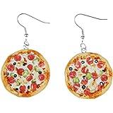 Pizza Ohrringe Ohrhänger Miniblings Pizza rund ganz 3D detailliert Fimo bunt