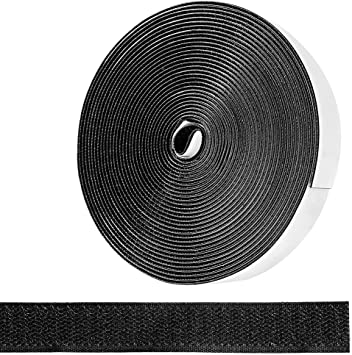 12m x 2cm Fly Screen Door Seal Straps for Magnetic Screen Door Curtain Window Seal and Cable Ties Management EXTSUD Adhesive Hook and Loop Tape Black
