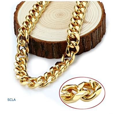 Miami Cuban Link 24K Real Gold Plated Chain Necklace 9MM for Men