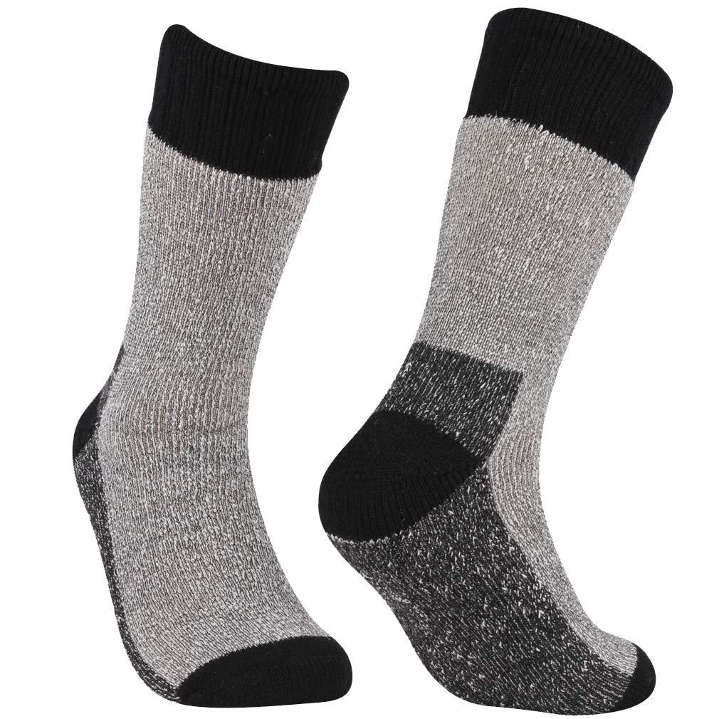 RTZAT Men's Merino Wool Socks Thermal Hiking Camping Mountaineering Cycling Crew Socks, Black, X-Large, 1 Pair by RTZAT